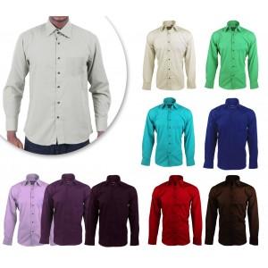 Camicia da uomo monocromo mod.  JUSTIN in caldo cotone con colletto classico a 2 bottoni