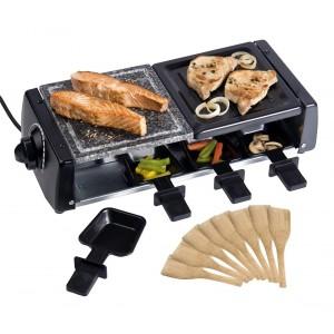 Raclette doppia cottura griglia e pietra antiaderente con 16 accessori 1200Watt