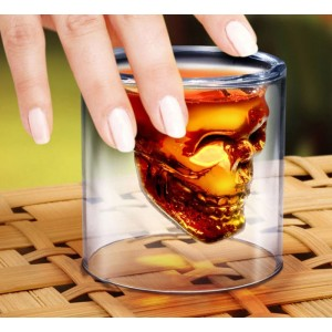 Ki 2 bicchierini per drink a forma di teschio shot glass vetro borosilicato per liquore