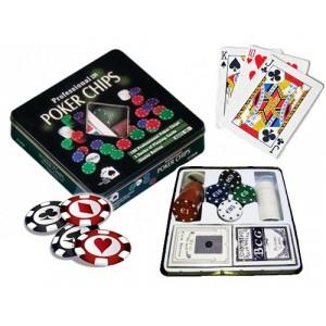 Set da poker 100 fiches + 2 mazzi di carte