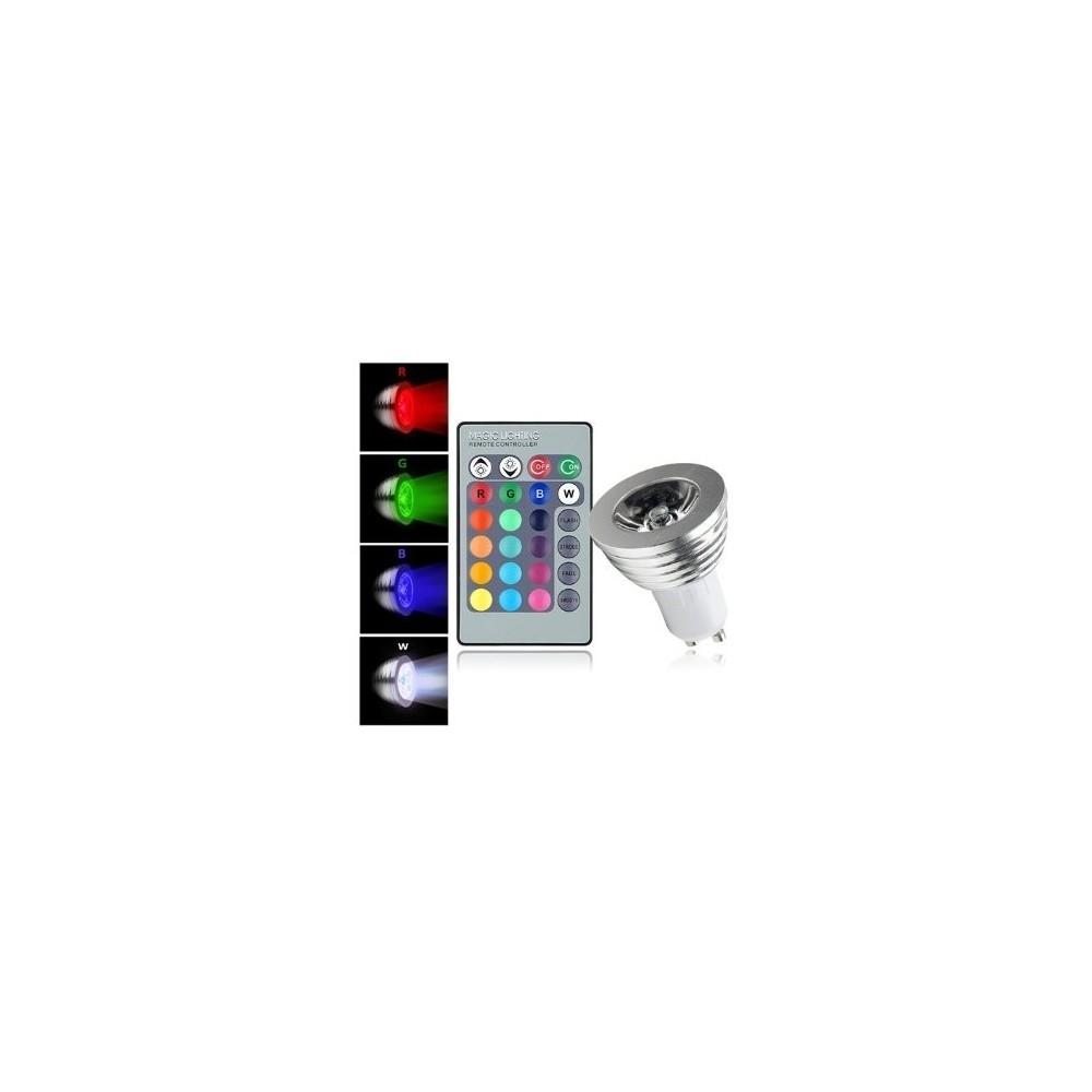 Faretto led rgb con telecomando segnapasso 3w multicolore