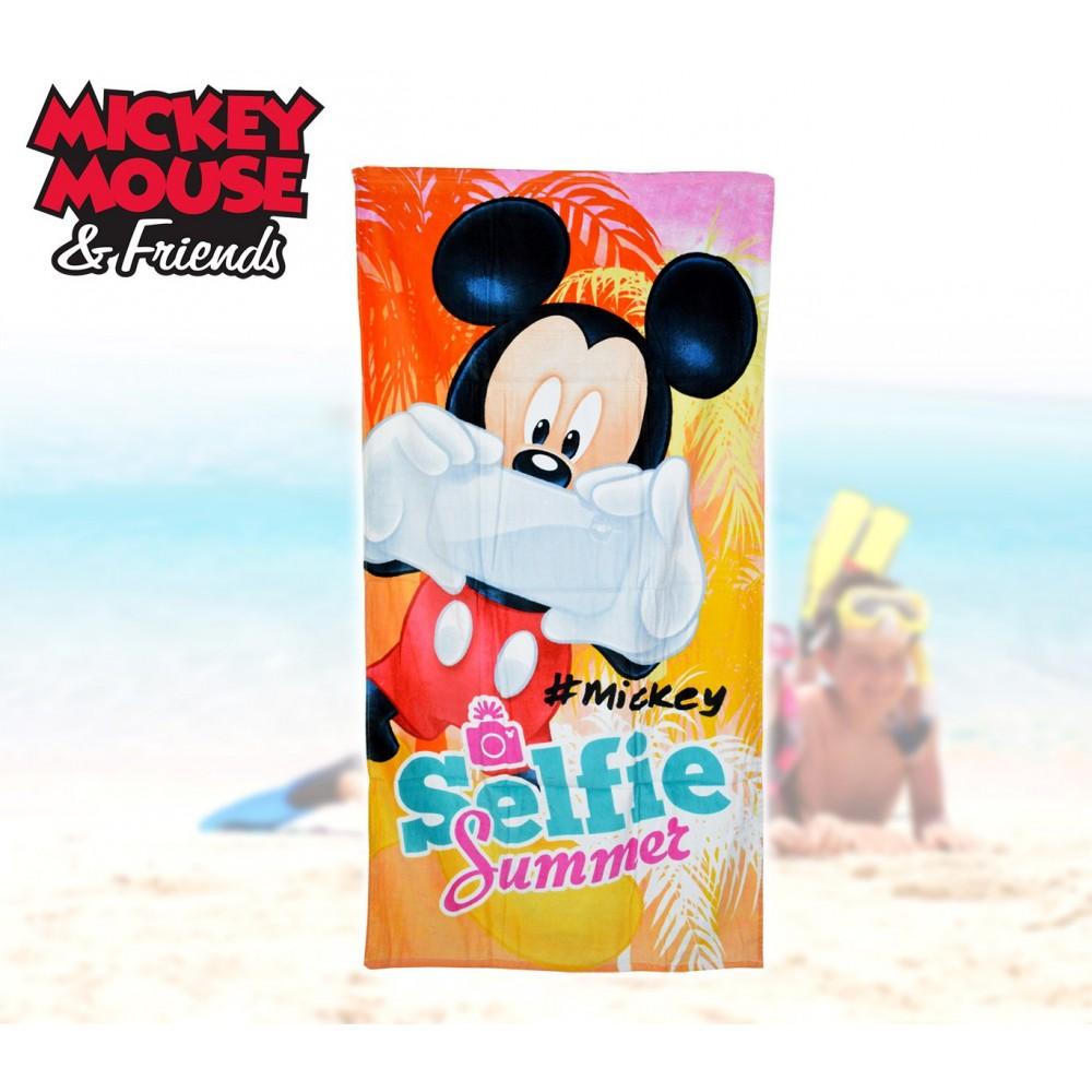 WD16931 Telo mare Mickey Mouse Topolino Selfie70x140 cm 100% cotone asciugamano