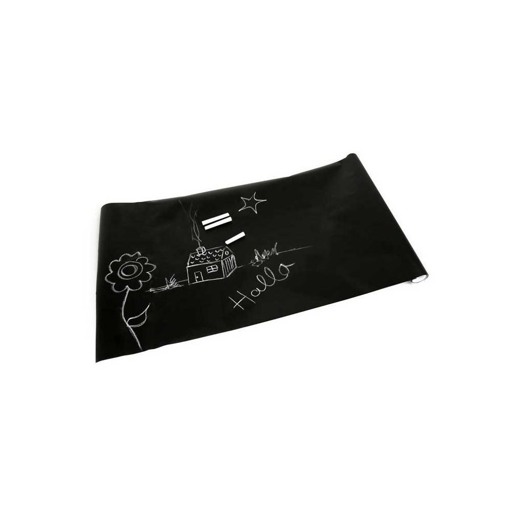 Lavagna adesiva nera con gessetti colorati 200 x 45 cm da parete removibile