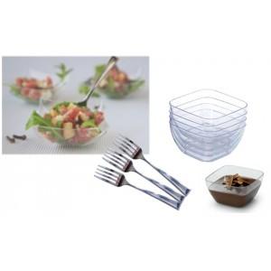 Set completo di 54 pz per party aperitivi Finger Food in plastica