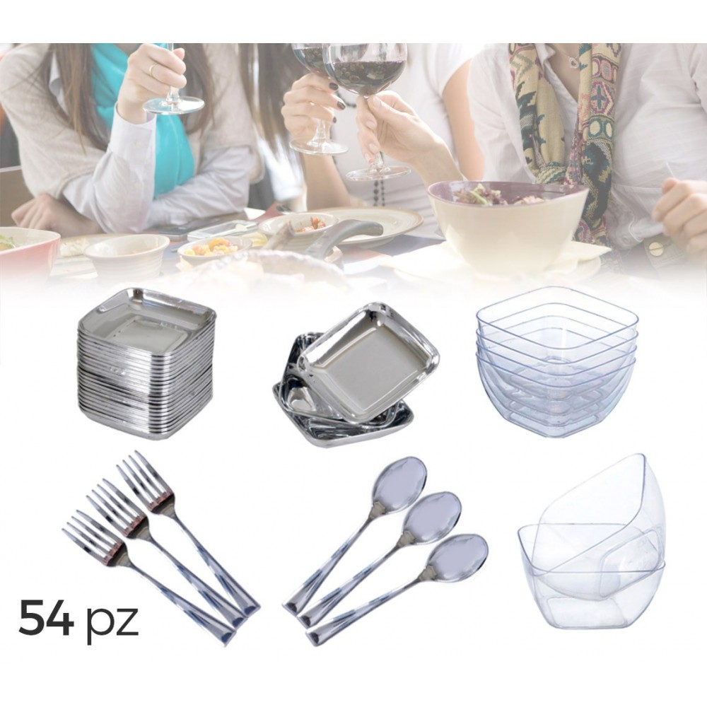 609607 Set completo di 54 pz per party aperitivi Finger Food con posate in plastica