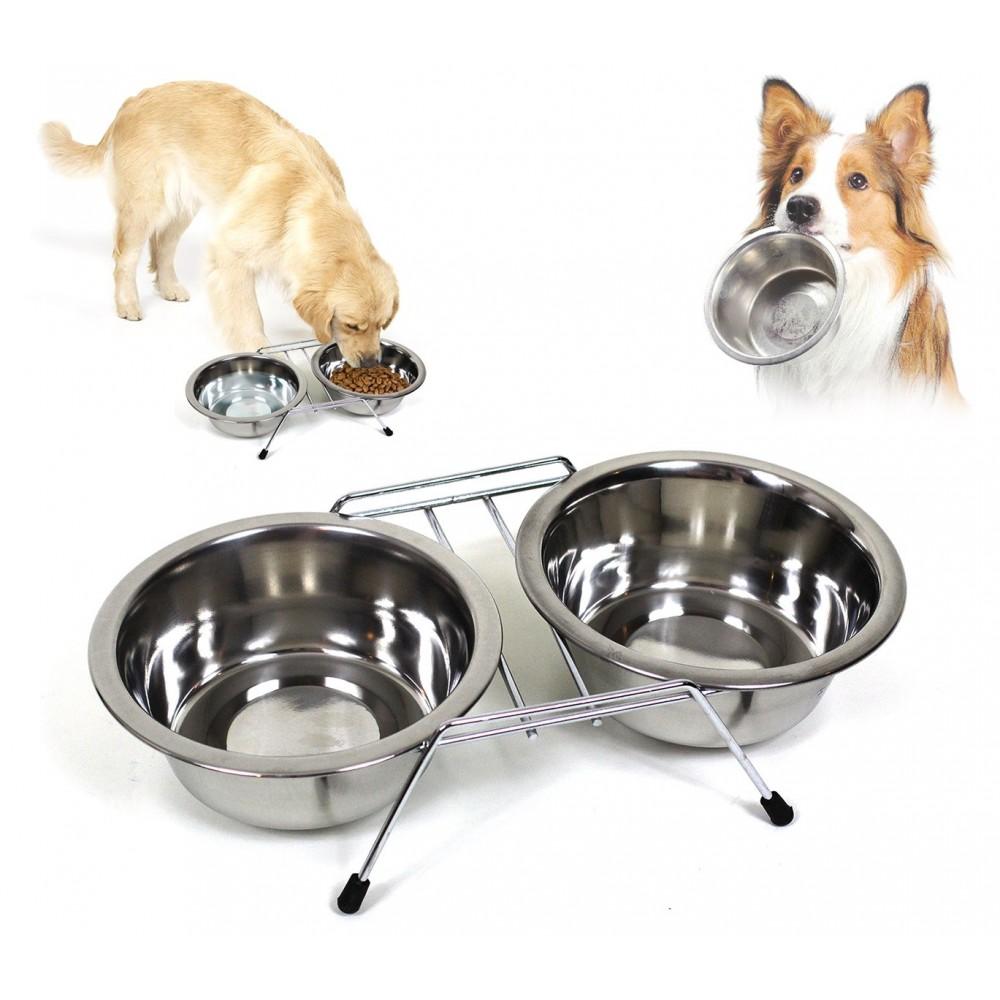 Doppia ciotola per cani in acciaio con supporto rialzato 2x550ml