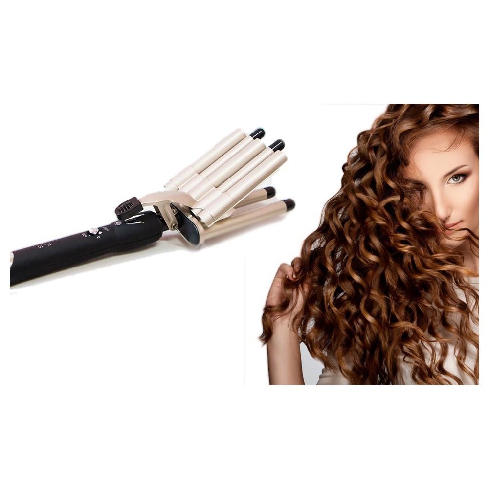 Piastra PENTA-FERRO per capelli a onde 5 tubi rivestimento ceramica 45 W