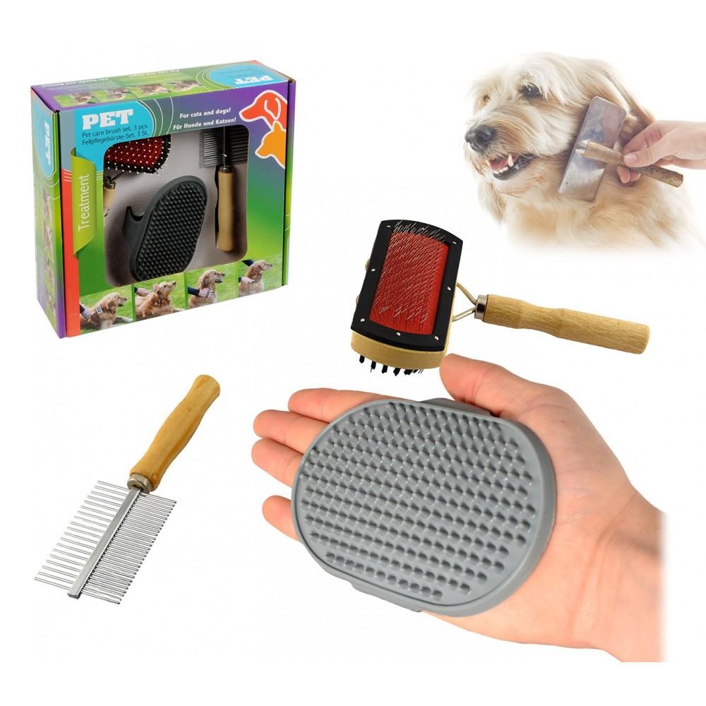 82009 Kit delle coccole 3 pz di spazzole per la pulizia e la cura del cane