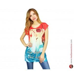 Image of Maglia donna manica corta mod. POTION multicolor con stampa effetto poster e dettagli brillanti 8018427487580