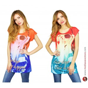 Maglia donna manica corta mod. POTION multicolor con stampa effetto poster con dettagli brillanti