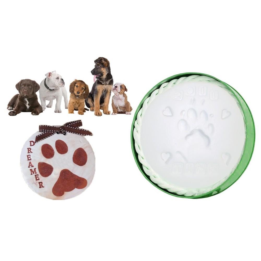 Kit per calco in gesso per ricordo impronte zampa cani e gatti