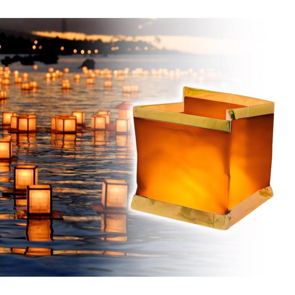 747012 Pack 5 Lanterne galleggianti con candela tea light inclusa quadrata