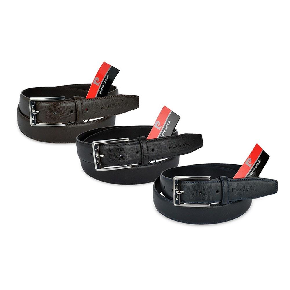P501 Cintura regolabile uomo Pierre Cardin in vera pelle saffiano vari colori