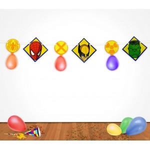 Image of PB439 Pack 2 festoni supereroi Marvel 2,8 m con palloncini decorazioni feste 8044577777509