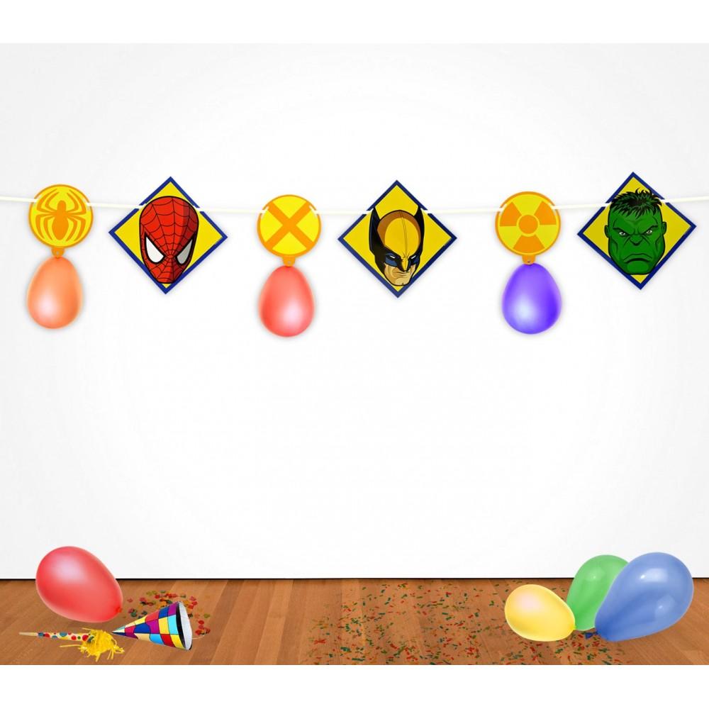 PB439 Pack 2 festoni supereroi Marvel 2,8 m con palloncini decorazioni feste