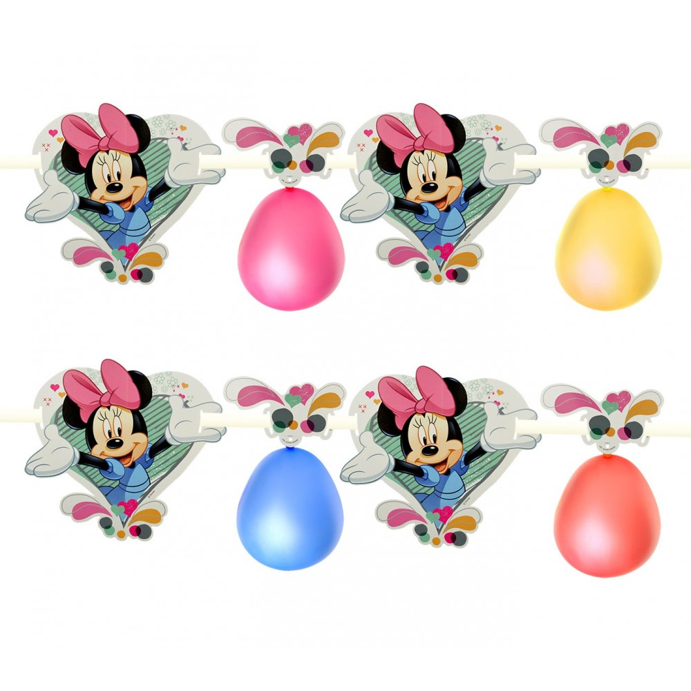 PB438 Pack 2 festoni Minnie decorazione per feste in carta 1.80 m Disney