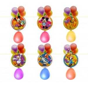 PB435 Pack 2 festoni personaggi Disney con palloncini ghirlanda per feste bimbi
