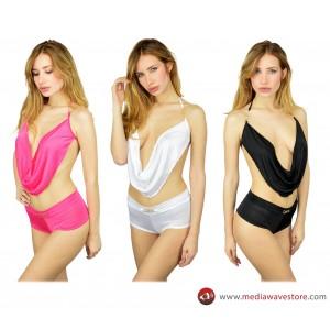 Completino sexy mod.  FABLE coordinato con top asimmetrico regolabile e culotte