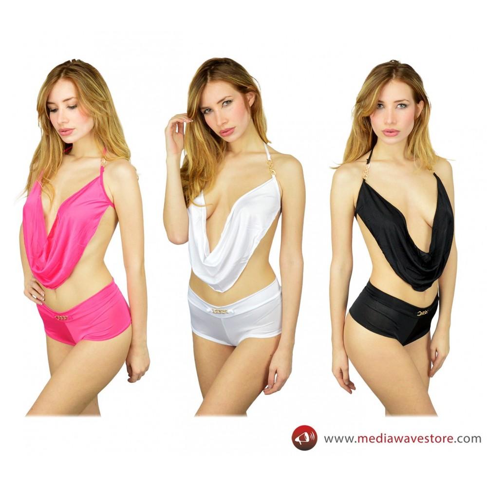 Completino sexy FABLE coordinato con top asimmetrico regolabile e culotte