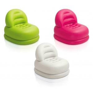 68572 Poltrona relax gonfiabile Intex con poggiapiedi tessuto floccato 3 colori