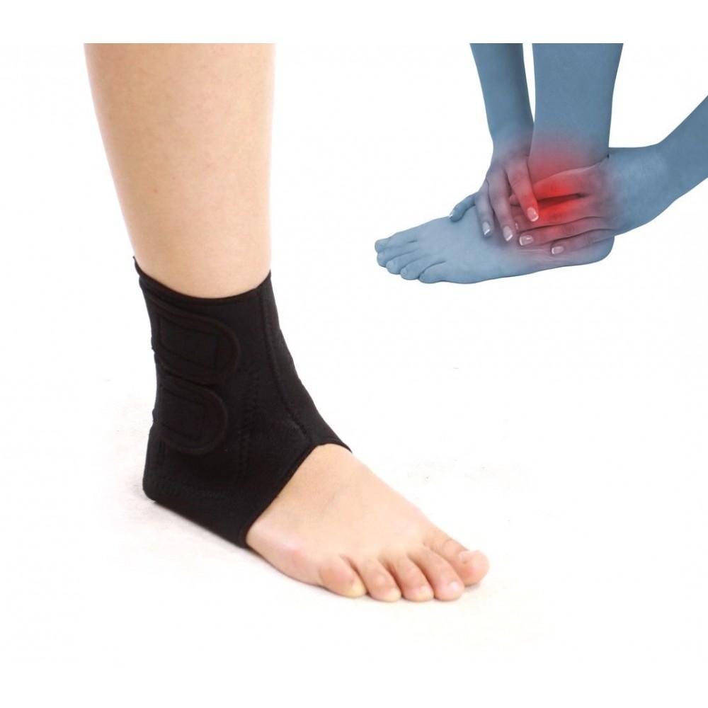 Supporto tutore fascia in neoprene per caviglia doppia chiusura con velcro nera