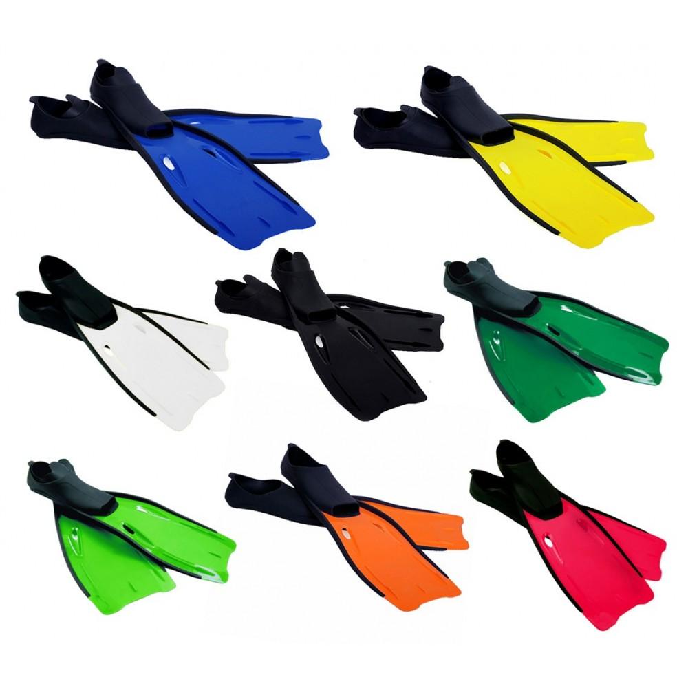 Pinne immersione adulto scarpetta chiusa e pala in gomma in vari colori e taglie