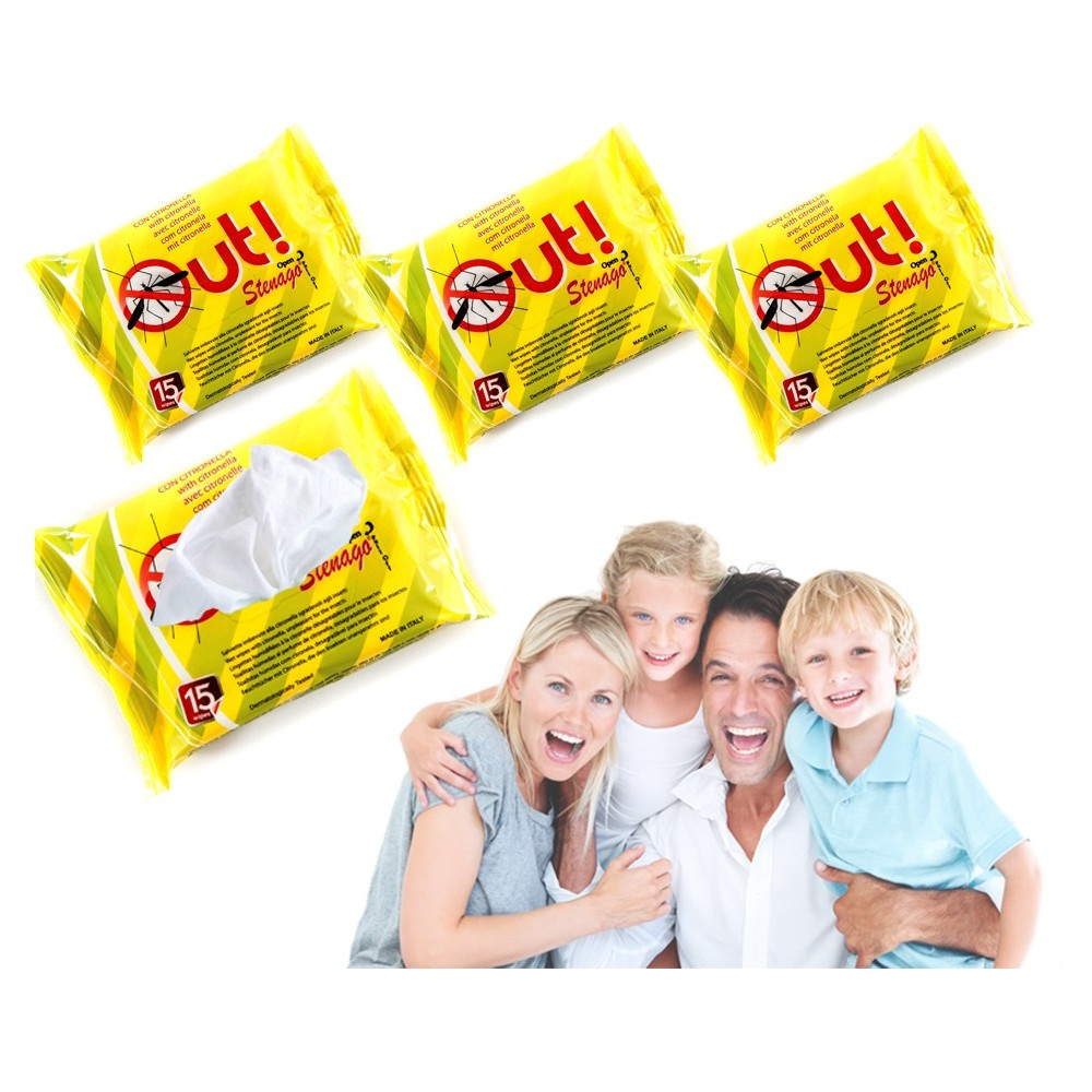 Pack 45 salviettine antizanzare imbevute alla citronella