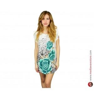 Vestito donna Fleur con stampa fiori maglia lunga MWS ahead dress collo scollato
