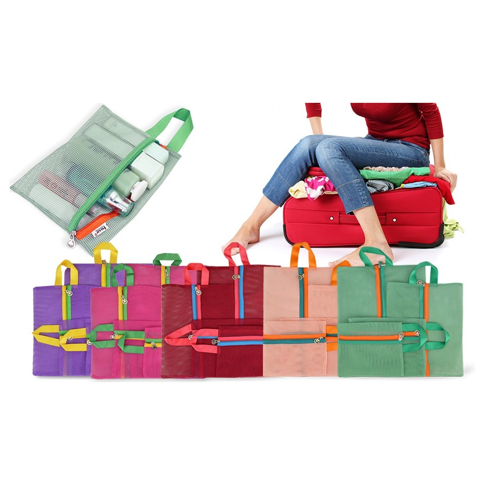 Set 4 organizer a rete da viaggio per trolley e valigie