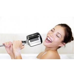 Image of 314051 Soffione doccia a forma di microfono attacco universale 8063333332448