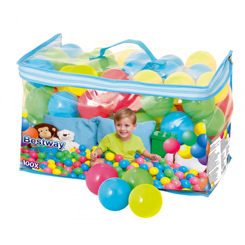 52027 Kit 100 palline colorate da gioco Bestway in plastica per gonfiabili