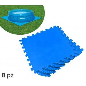 58220 Tappeto componibile protezione piscine 8 pezzi 50 x 50 cm Bestway