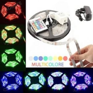 Image of Striscia led 5 metri 72w  multicolor RGB 300 led mensole controsoffittatura 8016324434980