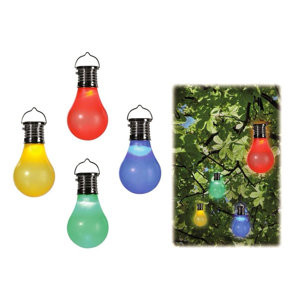 260065 Set 4 lampadine colorate con mini pannello solare e gancio in 4 colori