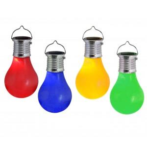 260065 Lampadine colorate con mini pannello solare e gancio in 4 colori