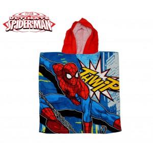 MV92261 Accappatoio poncho in cotone Spiderman con cappuccio 120 x 60 cm