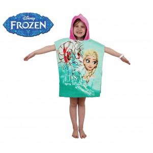 WD16952 Accappatoio poncho in cotone Elsa Frozen con cappuccio 120 x 60 cm