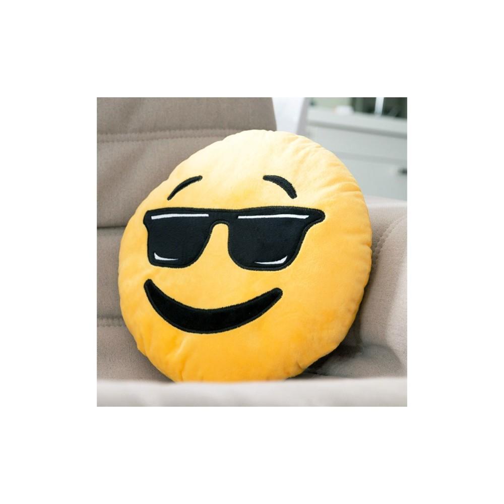 621042 Cuscino emotion con occhiali da sole emoji pillow faccine diametro 30 cm