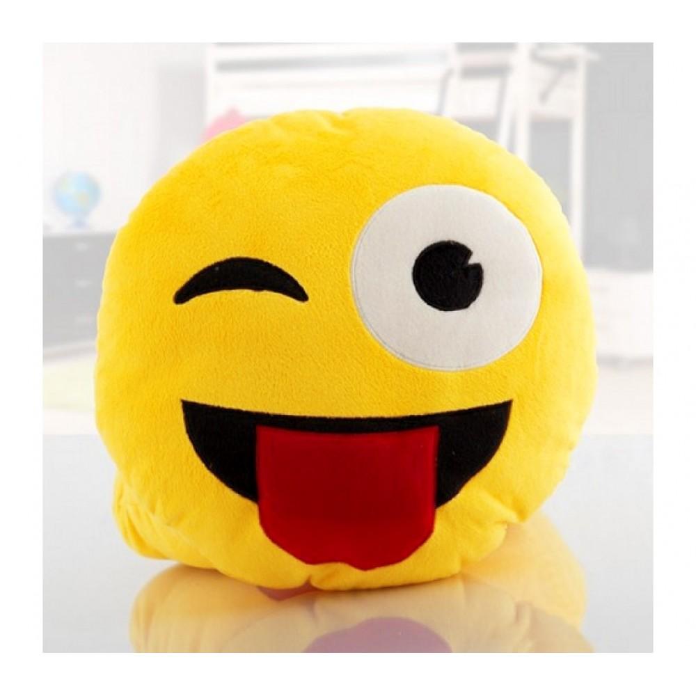 621037 Cuscino emotion occhiolino con lingua emoji pillow faccine diam. 30 cm