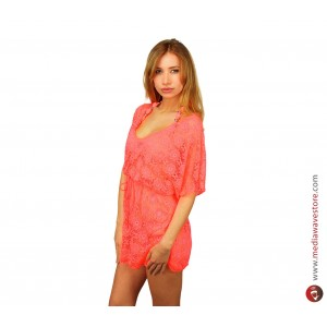 Image of A01 Copricostume mod. Elodie MWS AHEAD effetto uncinetto trama floreale 8014215487404