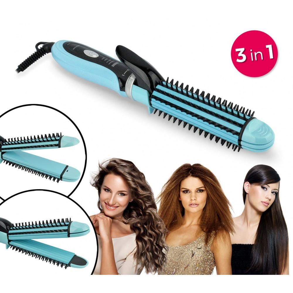 Piastra per capelli 3 in 1 capelli lisci ricci e con fresee Beauty Set