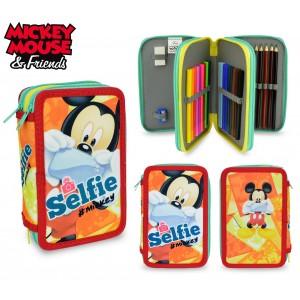 MK16109 Astuccio portapastelli 3 cerniere 43 pz scuola Mickey Mouse colori