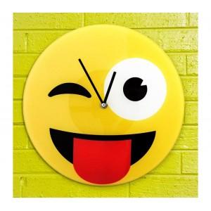 Image of 79/3229 Orologio da parete emoticon occhiolino con lungua in vetro diametro 30cm 8036985415418