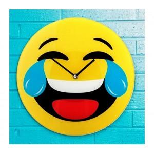 Image of 79/3230 Orologio da parete emoticon risata con lacrime in vetro diametro 30 cm 8066651081067
