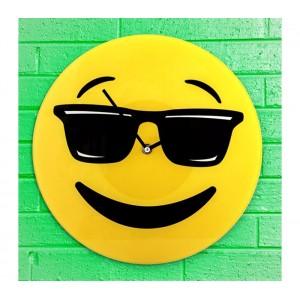 79/3231 Orologio da parete emoticon con occhiali da sole in vetro diametro 30 cm