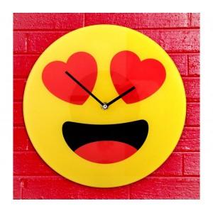 79/3232 Orologio da parete emoticon occhi a cuoricino in vetro diametro 30 cm