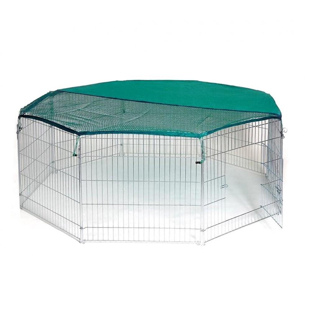 26477 Recinto ottagonale da esterno per animali piccola taglia con parasole