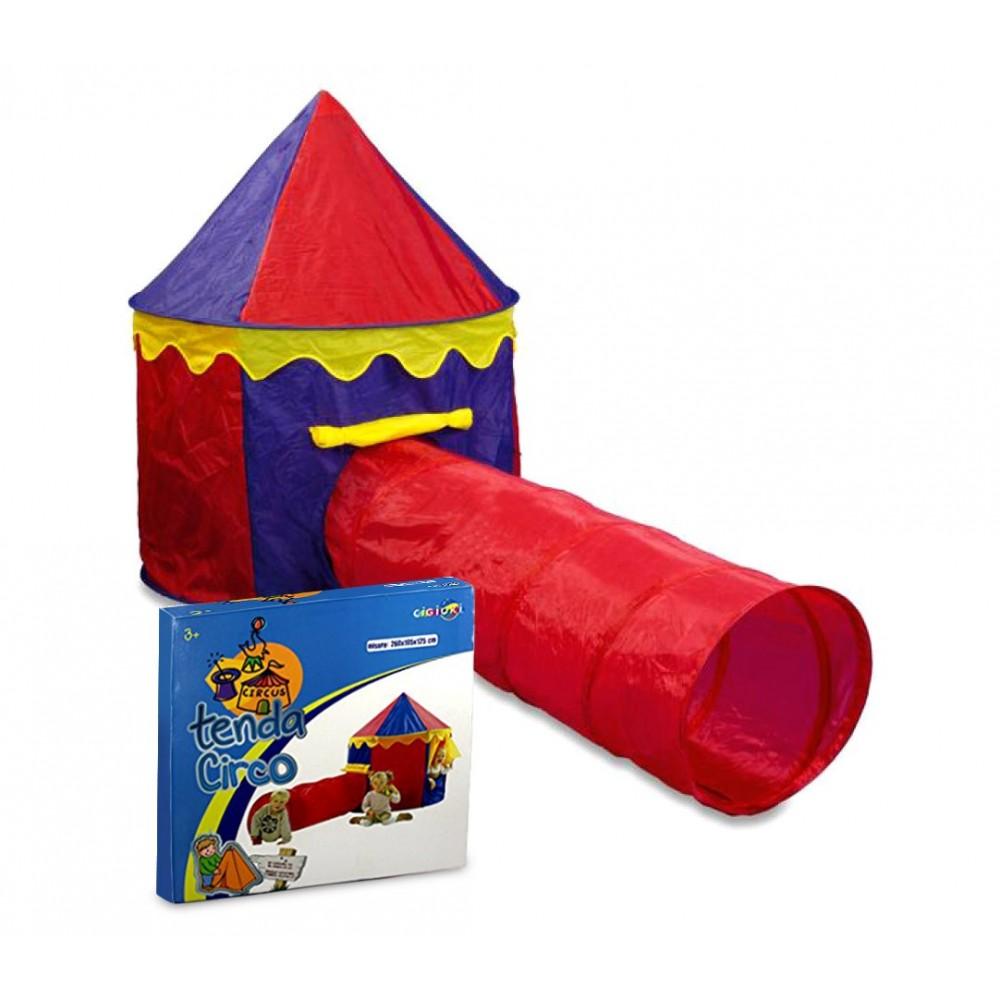 167830 Tenda da gioco Circo per bambini 260x105x125 cm con tunnel Cigioki