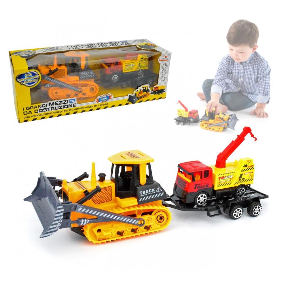 033743 Set grandi mezzi da costruzione giocattolo ruspa con camion