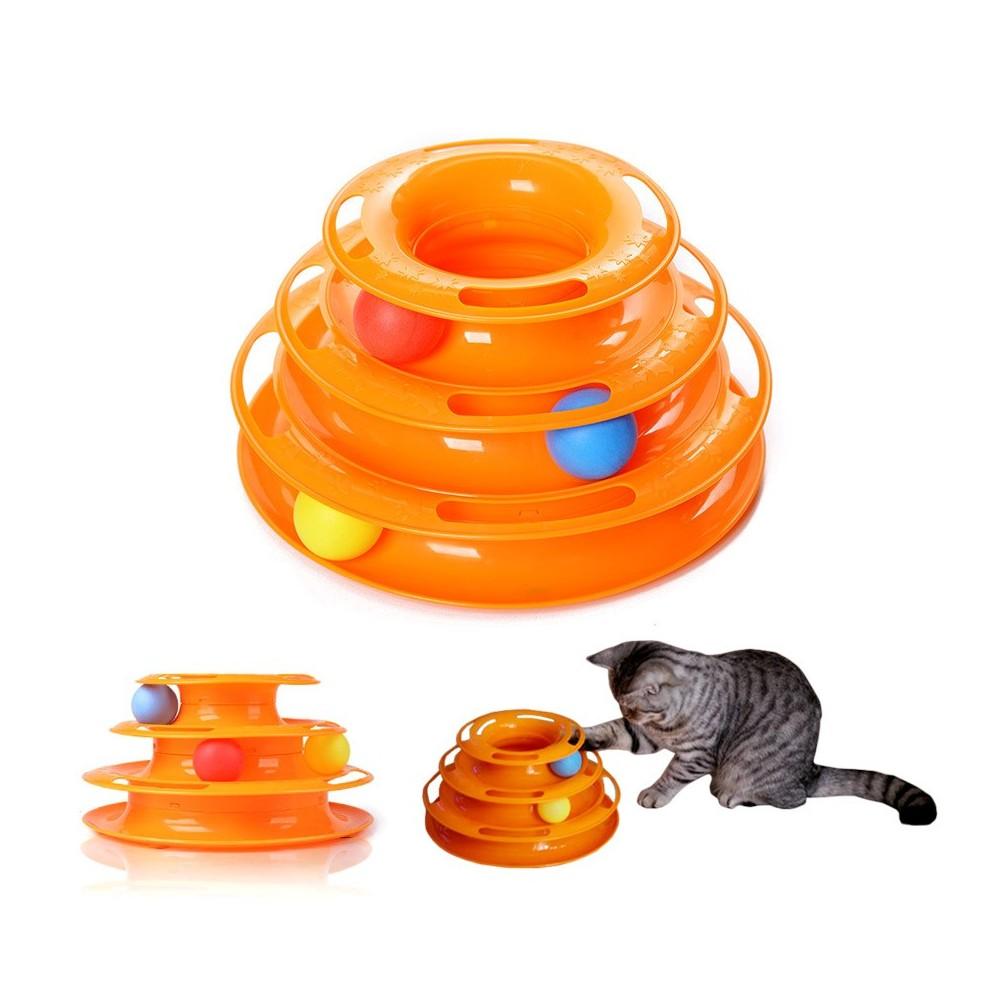 560021 Gioco interattivo per gatti a torre circolare con palline rotanti